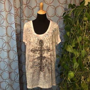 Maurices Cross Burnout Short Sleeve T-Shirt Size 3